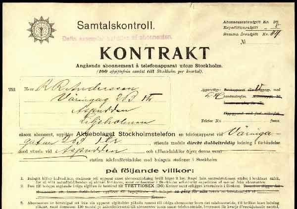 Kanske Sveriges första standardkontrakt